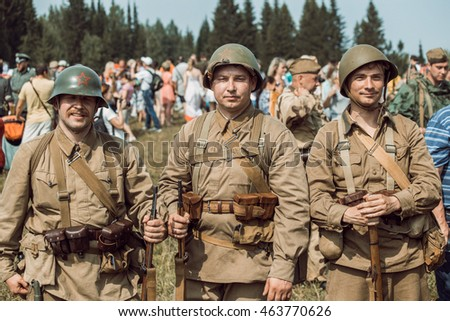"PERM, RUSSIA - JULY 30, 2016: ""Perm Regional Museum"", Historical reconstruction of second world war. Participants of historical reconstruction photographed after the battle."