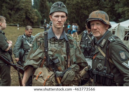 "PERM, RUSSIA - JULY 30, 2016: ""Perm Regional Museum"", Historical reconstruction of second world war. Old and young soldiers in German uniform."