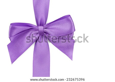 Perple ribbon with bow. Isolated on white background - stock photo
