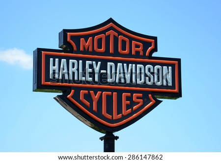 PERRYSBURG, OH - JUNE 2:  Harley Davidson, whose Perryburg, OH location sign is shown on June 2, 2015, has over 1,400 stores. - stock photo