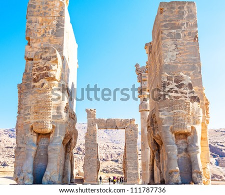 Persepolis, view on entrance gate to historical complex. in Iran. - stock photo