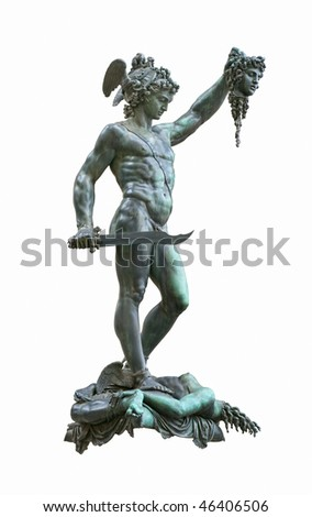 Perseus holding head of Medusa, bronze statue created  by Benvenuto Cellini in 1554 and exposed nowadays in Loggia de Lanzi, Piazza della Signoria, Florence, Italy. Isolated on white background - stock photo