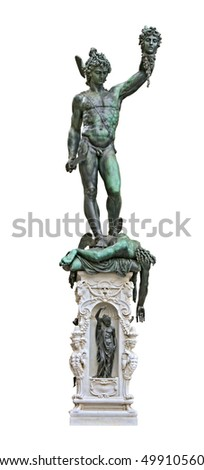 Perseus holding head of Medusa, bronze statue created  by Benvenuto Cellini in 1554 and exposed nowadays in Loggia de Lanzi, Piazza della Signoria, Florence, Italy. Isolated on white