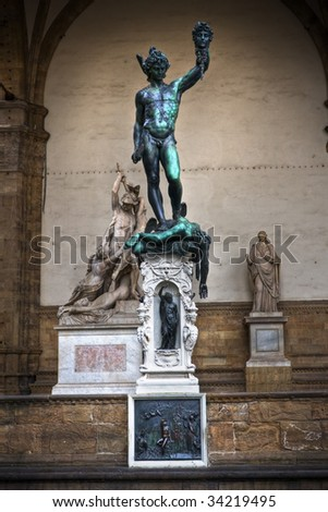 Perseus, with a curved sword, a gift of Mercury, wears winged sandals, like Mercury's, and a helmet with wings - stock photo