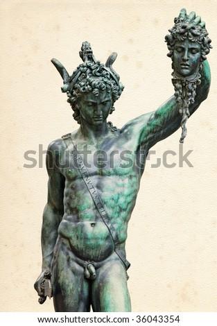 Perseus with the head of Medusa (1545-1554), by Benvenuto Cellini, in Loggia de' Lanzi, Piazza della Signoria, Florence. - stock photo