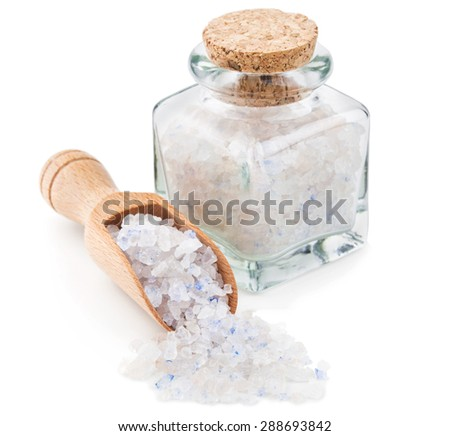 Persian blue salt in a glass bottle isolated on white background - stock photo