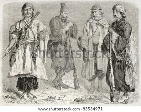 Persian men old illustration. Created by Laurens, published on Le Tour du Monde, Paris, 1860 - stock photo