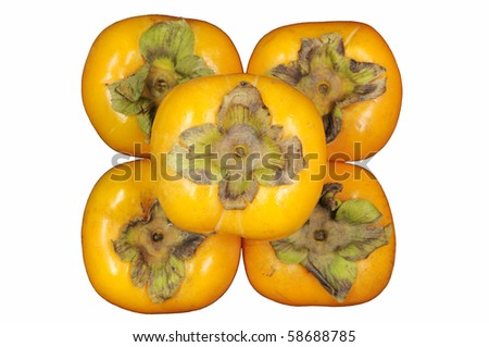 Persimmon fruit isolate on white.