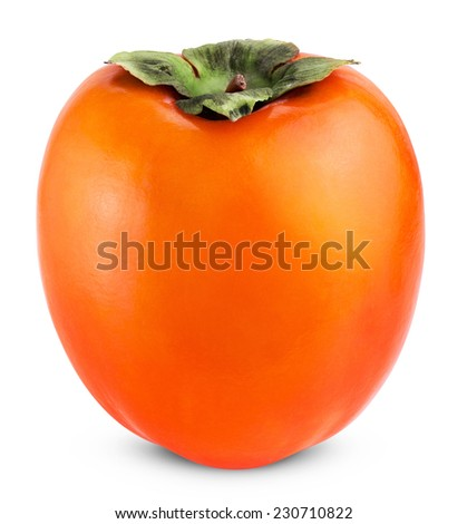Persimmon fruit isolated on white background. Clipping path - stock photo
