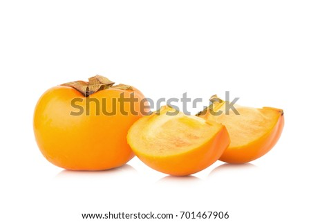 persimmon fruit ripe fresh isolated on white background.