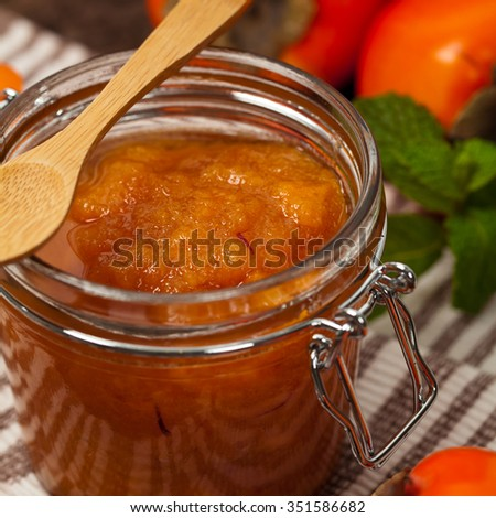 Persimmon Jam with Saffron. Selective focus. - stock photo