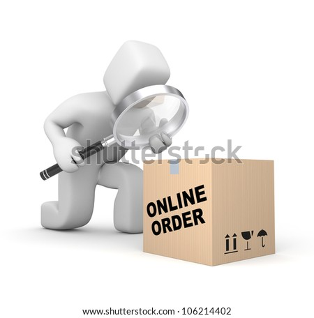 Person analyzing parcel - stock photo