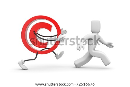 Person and copyright sign - stock photo