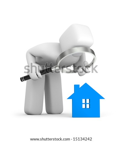 Person and house icon - stock photo