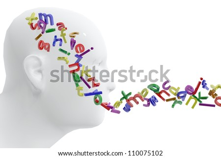 Person and letters. Concept of language - stock photo
