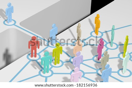 Person bridging gap to connect and join social media network or team - stock photo