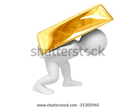 Person carry gold ingot. Isolated on white.