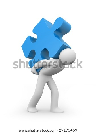 Person carry puzzle. Business concept - stock photo