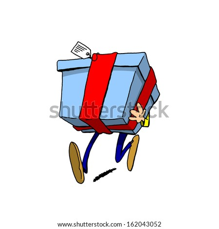 Person Carrying Giant Present - stock photo