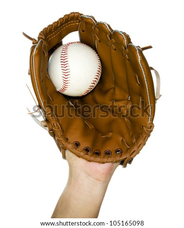 person catching baseball in leather baseball glove isolated in white