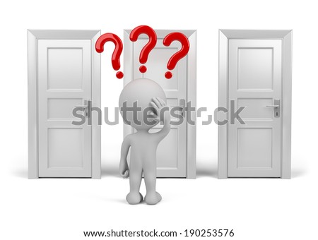 Person chooses which door to enter. 3d image. White background. - stock photo