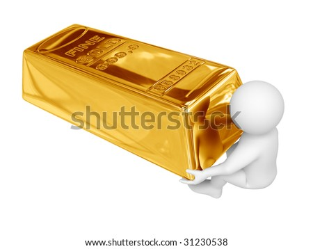 Person drag gold ingot. Isolated on white.
