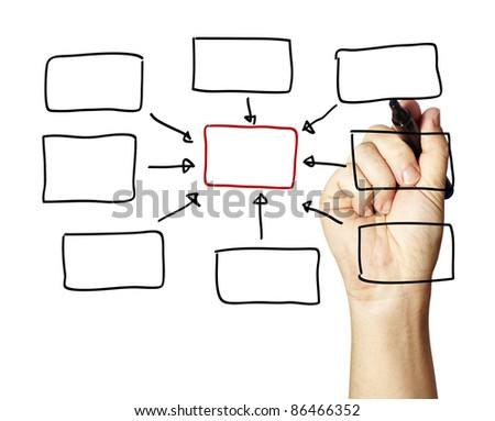 person drawing an empty diagram. - stock photo