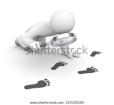 Person examines footprints - stock photo