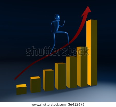 Person going on a rising red arrow - stock photo