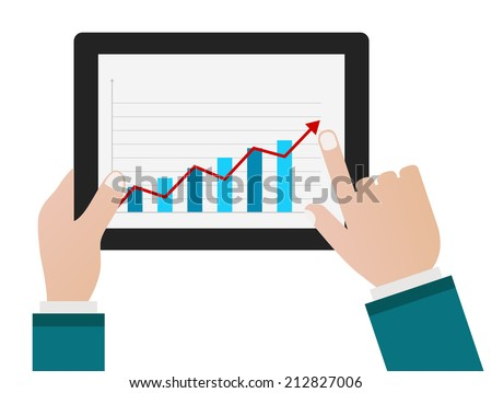 person hand with tablet pc and chart business diagram concept