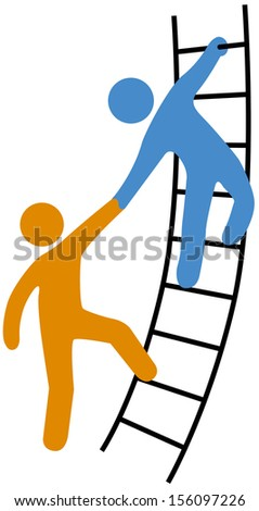 Person helping friend or partner join to climb up the ladder of success - stock photo