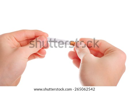 Person hold a Cigarette closeup Isolated on the white background