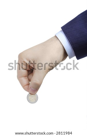 Person holding a coin in his hand against white background - stock photo