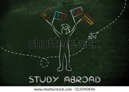 person holding flags and airplane flying in the background, concept of studying abroad - stock photo
