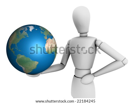 Person holds a globe on white background - stock photo