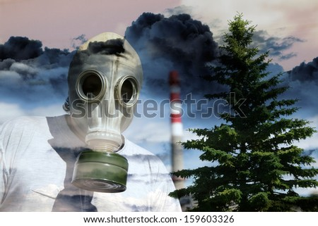 Person in a gas mask against a poisonous cloud going from a pipe - stock photo