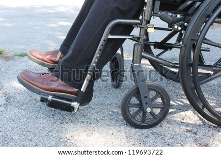 Person in a wheelchair sitting outside