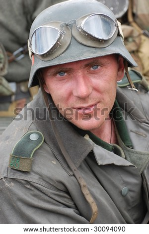 Person in German military uniform of WW2 time