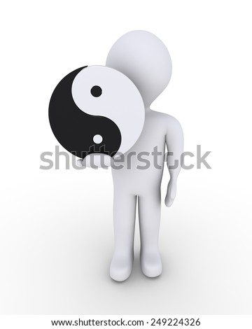 Person is holding a yin-yang symbol in his hand - stock photo