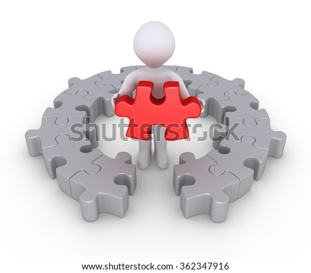Person is holding the last puzzle piece of a circular puzzle