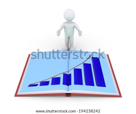 Person is showing an opened book with a graphic chart - stock photo