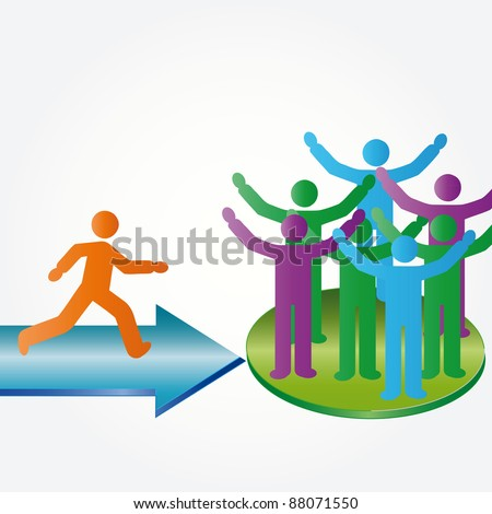 Person join happy people members company group - stock photo