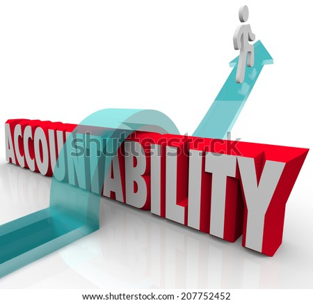 Person jumping over the word Accountability as a worker or someone avoiding or running from responsibility
