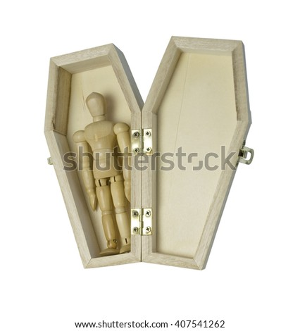 Person laying in a coffin - path included - stock photo