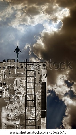 Person on top of technology with dramatic sky concept. - stock photo