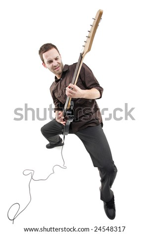 Person playing a guitar isolated against white background - stock photo