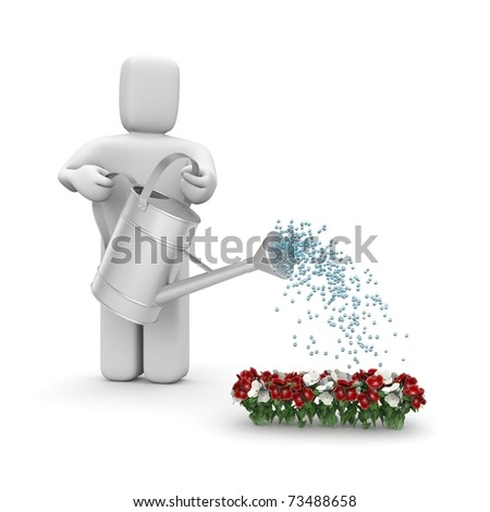 Person pouring flowers