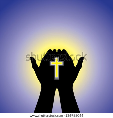 Person praying or worshiping with cross in hand - conceptual graphic illustration of a devout christian worshiping Christ with clear blue sky and sun in the background