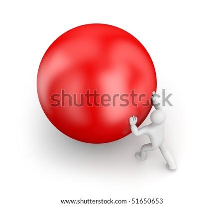 Person push ball - stock photo