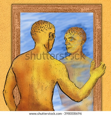 person reflecting in a mirror, thinking about himself - stock photo
